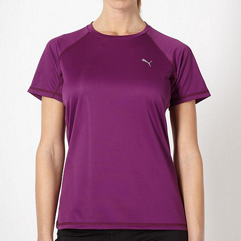 Puma - Purple perforated crew neck t-shirt