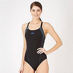 Speedo - Black graphic side striped swimsuit