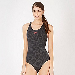 Speedo - Black monogram logo swimsuit