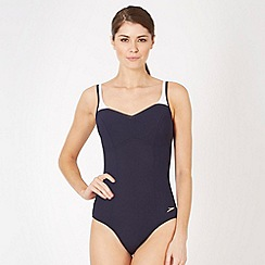 Speedo - Navy contrast strap swimsuit