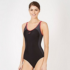 Speedo - Black panelled clip back swimsuit