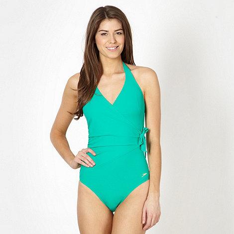 Speedo - Green sculpting halter neck swimsuit