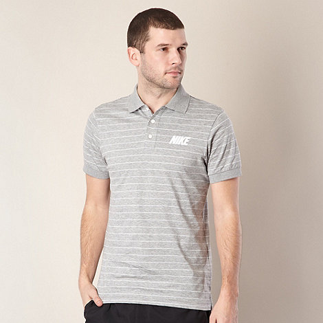 Nike - Grey fine striped jersey polo shirt