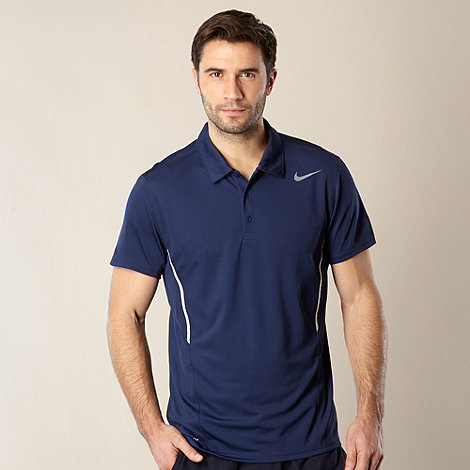 Nike - Navy mesh polo shirt