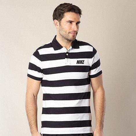 Nike - Navy striped pique polo shirt