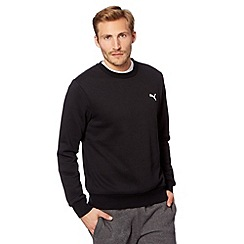 Puma - Black cotton logo embroidery jumper