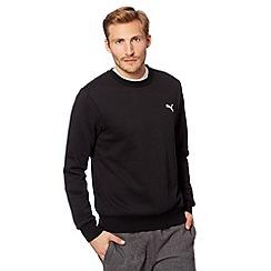 Puma - Black cotton logo embroidery jumper