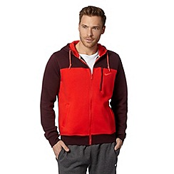Nike - Red colour block zip through hoodie
