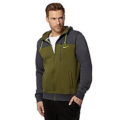 Nike - Green colour block zip through hoodie