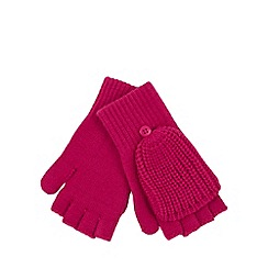 adidas - Dark pink ribbed mitten gloves