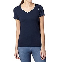 Reebok - Navy slim sports V neck t-shirt