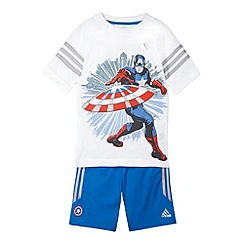 adidas - Boy's white 'Captain America' t-shirt and shorts set