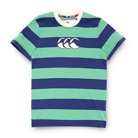 Canterbury - Boy+s green rugby striped t-shirt