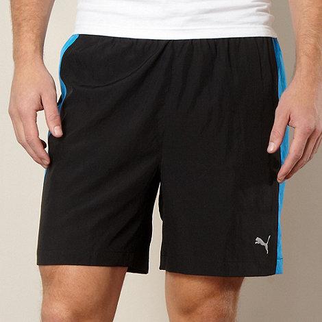 Puma - Black panelled woven gym shorts
