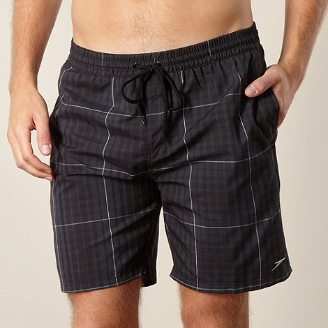 Speedo - Grey check printed swim shorts
