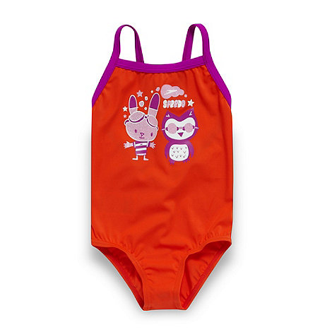 Speedo - Girl+s orange glitter print swimsuit