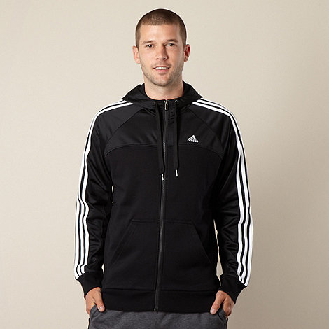 adidas - Black striped zip through hoodie