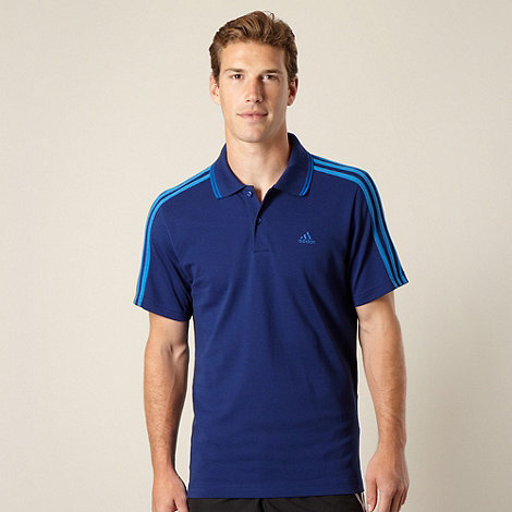 adidas - Dark blue striped sleeve pique polo shirt