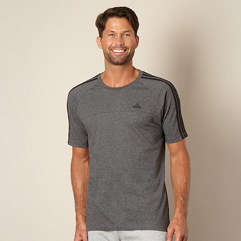 adidas - Dark grey striped sleeve t-shirt