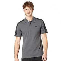 adidas - Dark grey logo stripe polo shirt