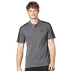 adidas - Dark grey logo stripe polo shirt
