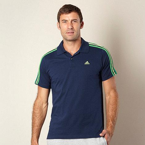 adidas - Navy pique three stripe polo shirt