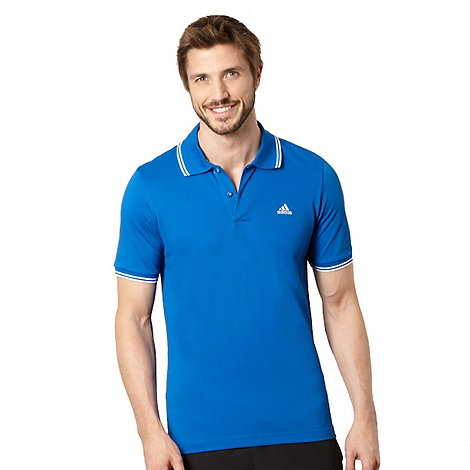 adidas - Royal blue twin striped polo shirt