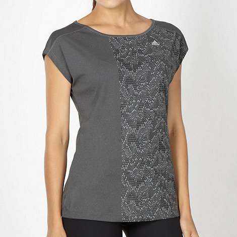 adidas - Grey asymmetric graphic t-shirt