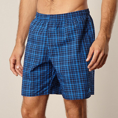 adidas - Navy checked swim shorts