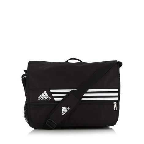 adidas - Black brand striped messenger bag