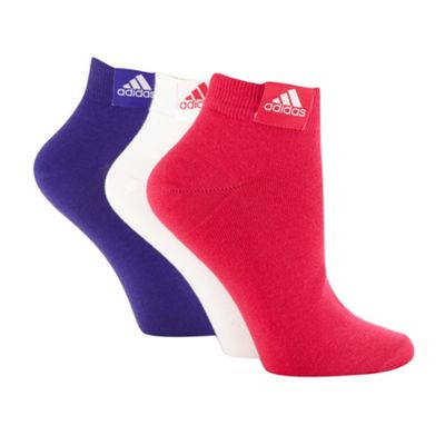 Adidas set of three white, purple and pink trainer socks