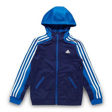 adidas - Boy+s navy striped sleeve hoodie