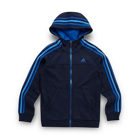 adidas - Boy+s navy zip through hoodie