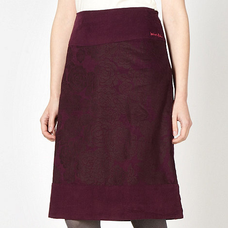 Weird Fish - Maroon floral cord skirt