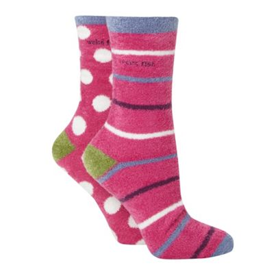 Pack of two pink fluffy socks