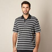 Adidas black striped performance polo shirt