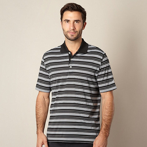 adidas - Black striped performance polo shirt
