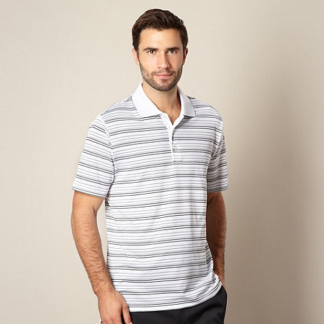 adidas - White striped performance polo shirt