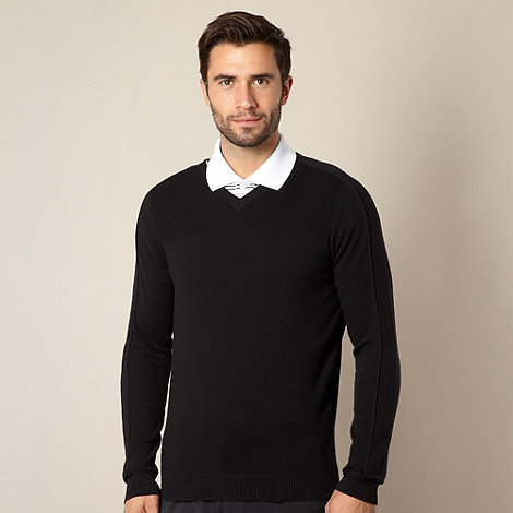 adidas - Black ribbed V neck jumper