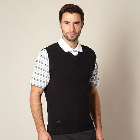 adidas - Black ribbed V neck vest