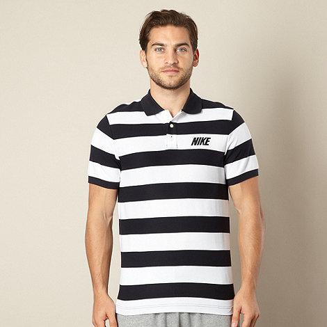 Nike - Navy wide striped pique polo shirt