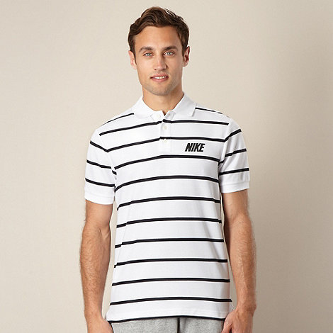 Nike - White thin striped pique polo shirt
