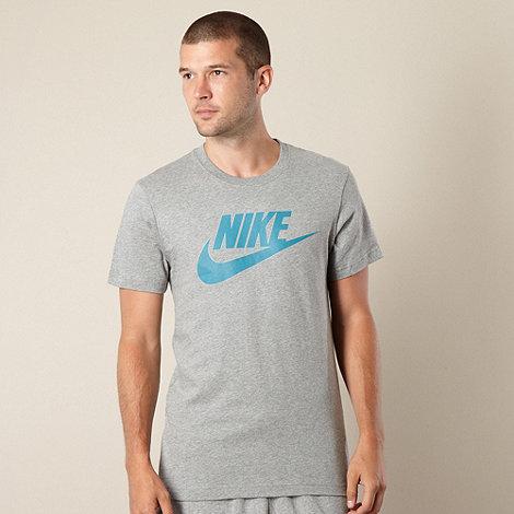 Nike - Grey marled logo print t-shirt