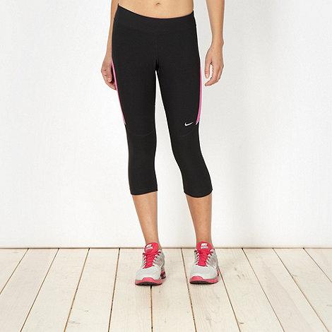 Nike - Black panelled capri running tights