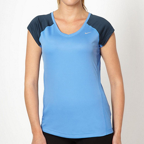 Nike - Blue +Miler+ V neck t-shirt