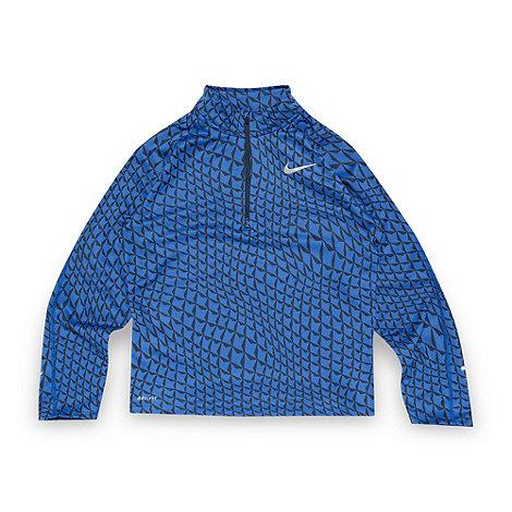 Nike - Boy+s blue jacquard zip neck top