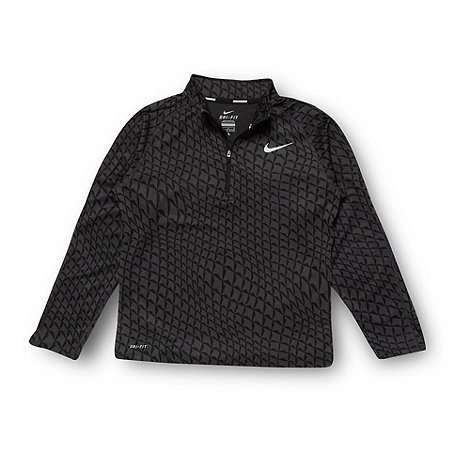 Nike - Boy+s black jacquard zip neck top