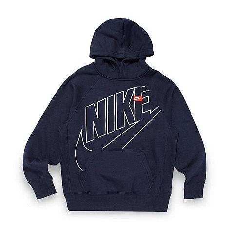 Nike - Boy+s navy logo hoodie