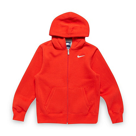 Nike - Boy+s red fleece lined zip through hoodie
