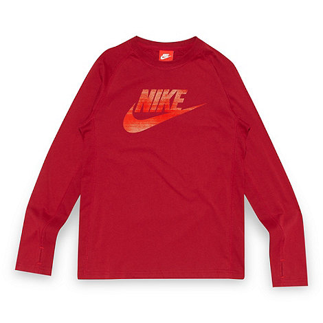 Nike - Boy+s dark red logo print top